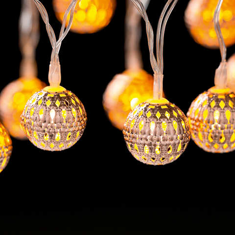 Battery Operated 24 LED Metal Ball String Lights