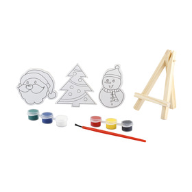 11 Piece Christmas Canvas With Easel Kit