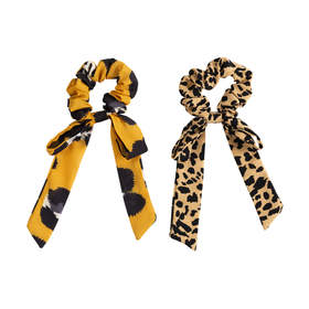 2 Pack Bow Scrunchies - Animal Print